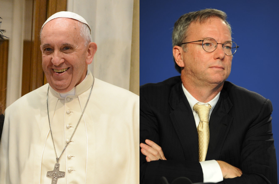 El Papa Francisco and Eric Schmidt